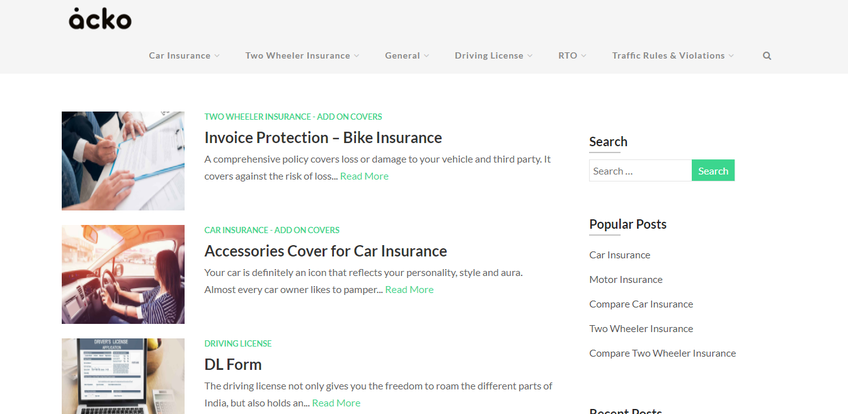 Acko General Insurance Company Limited. screenshot