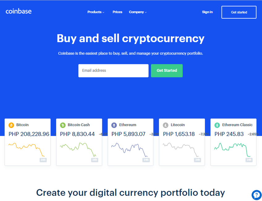 Coinbase screenshot