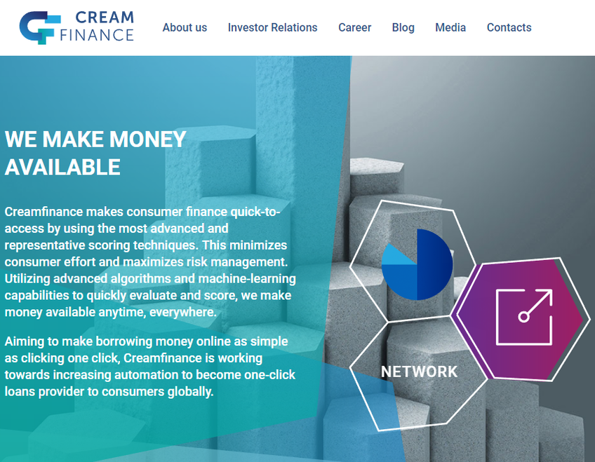 Creamfinance screenshot
