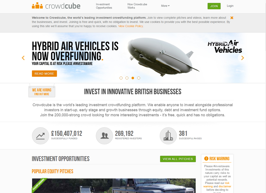 Crowdcube screenshot