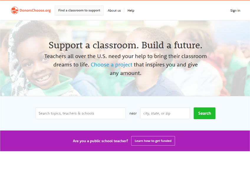 DonorsChoose screenshot