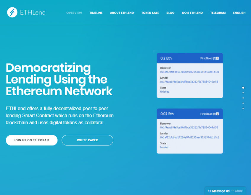 ETHLend screenshot