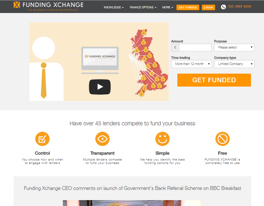 Funding Xchange screenshot