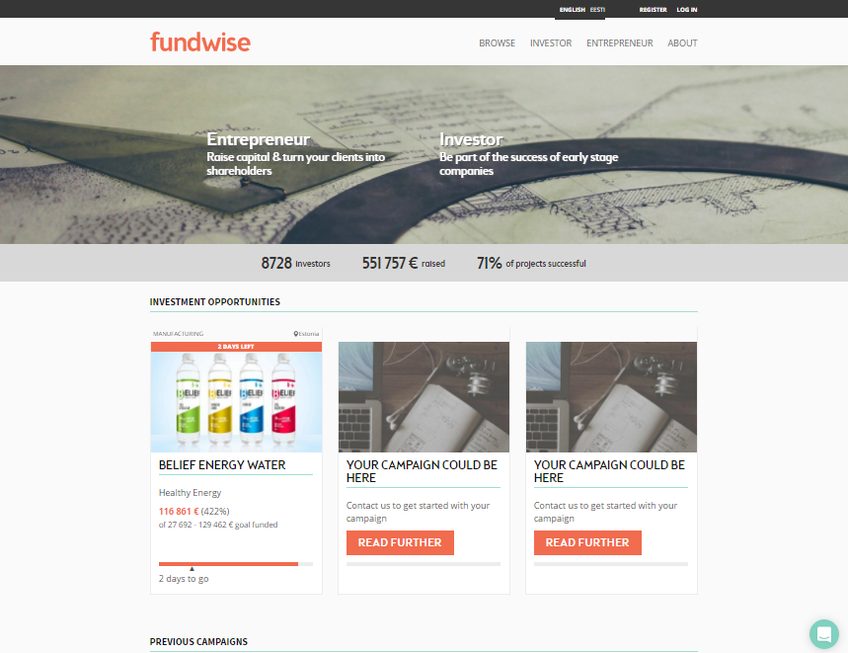 Fundwise screenshot