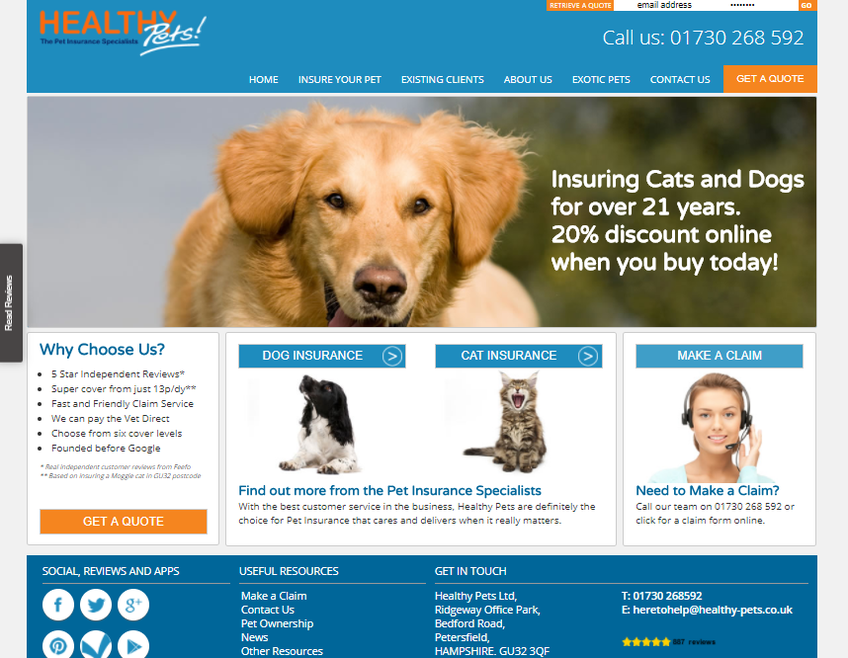 Healthy Pets Insure screenshot