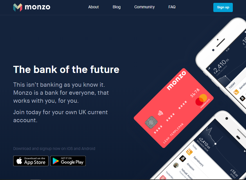 Monzo screenshot