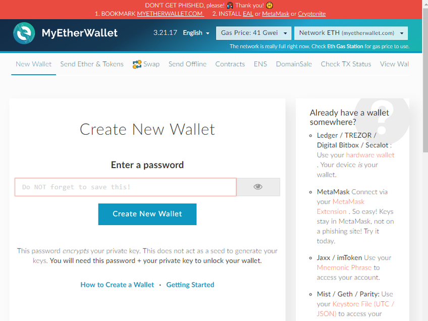 MyEtherWallet screenshot