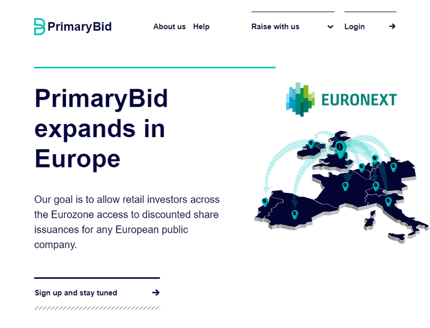PrimaryBid screenshot