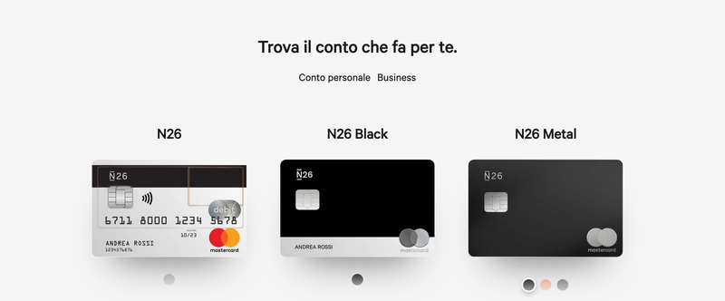N26 Tipologie conti